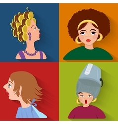Flat people avatar beauty spa customers vector