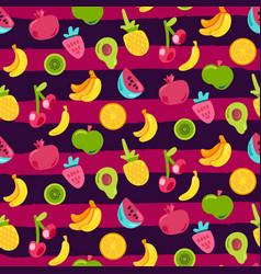 Fresh berries summer fruits mix seamless pattern vector