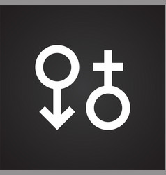 gender signs icon on black background for graphic vector image