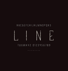 Geometric sans serif font in thin line style vector