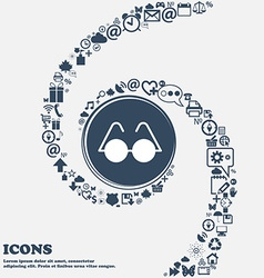 Glasses icon in the center Around the many vector image