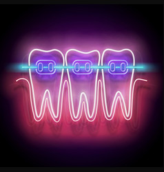 glow dentition with white teeth and braces vector image