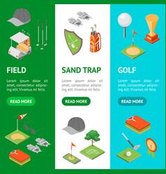 Golf game equipment banner vecrtical set isometric vector