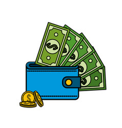 Green bill dolar inside wallet with coins vector