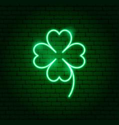 green cloverleaf neon sign vector image