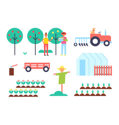 greenhouse and tractor farm vector image