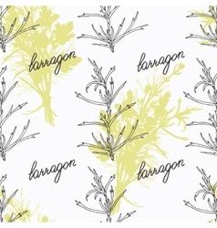 Hand drawn tarragon branch and handwritten sign vector image