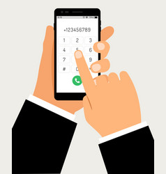 hands with smartphone dialing mobile touch screen vector image