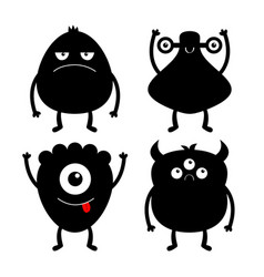 Happy halloween monster black silhouette set vector