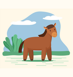horse or stallion domestic animal stand on meadow vector image