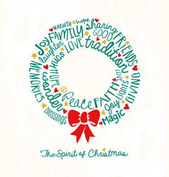 inspiring words in christmas wreath shape vector image