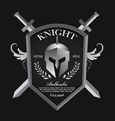 knight shield and helmet vintage badge logo vector image