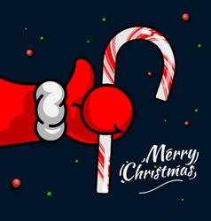 like christmas santas claus hand thumbs up symbol vector image