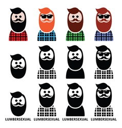 Lumbersexual man lumberjack - fashion trend icons vector