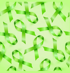 lymphoma cancer green ribbon isolated on white vector image