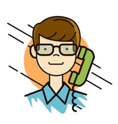 Man in glasses portrait making a call by the phone vector
