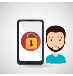 Man smartphone padlock symbol vector