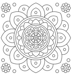 mandala flower coloring page black and white vector image