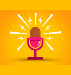 microphone on yellow halftone background vector image