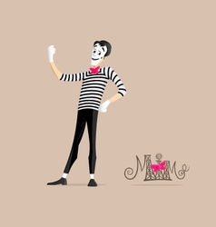 Mime performance - Taking selfie vector image