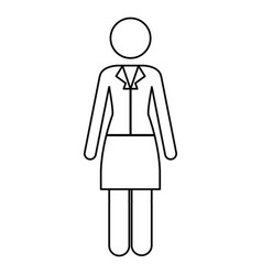monochrome contour pictogram of business woman in vector image