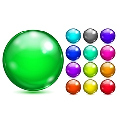 Multicolored spheres of various saturated colors vector