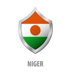 Niger flag on metal shiny shield vector