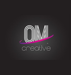 om o m letter logo with lines design and purple vector image