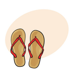 Pair flip flops summer time vacation attribute vector