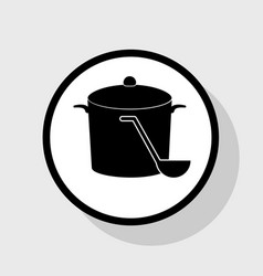 pan with steam sign flat black icon in vector image