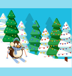 Penguin skiing in pine tree forest downhill vector
