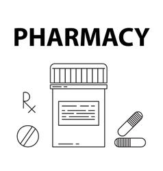 Pharmacy simple style concept pills box vector