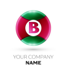 Realistic letter b logo in colorful circle vector