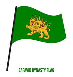 Safavid dynasty 1501-1736 flag waving on white vector