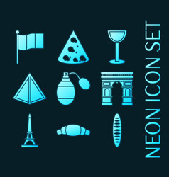 set france blue glowing neon icons vector image