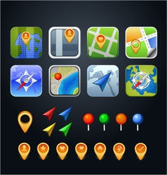 Set gps icons with pins and arrows vector