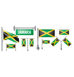 Set national flag jamaica vector