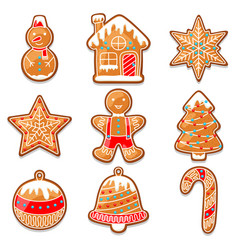 Set of various gingerbreads for merry christmas vector