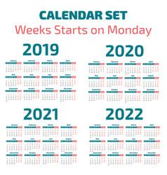 simple 2019-2022 years calendar vector image