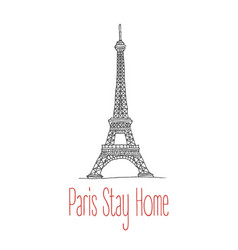 stay home poster for paris vector image