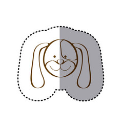 Sticker with brown line contour of face of dog vector