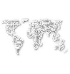 stylized cutout world map vector image