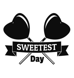 sweetest day logo simple style vector image