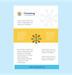 template layout for dollar network comany profile vector image