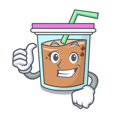 thumbs up bubble tea character cartoon vector image