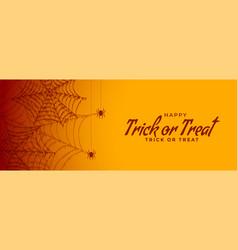 trick or treat halloween spiderweb banner design vector image