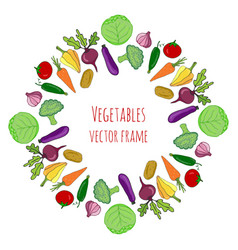 vegetable hand drawn set isolated vegetables vector image