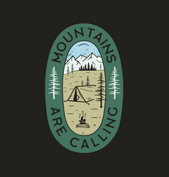 Vintage camp logo mountain badge hand drawn vector