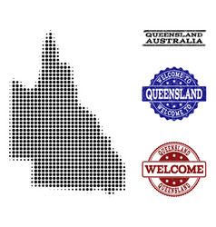 Welcome collage of halftone map of australian vector