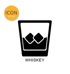whiskey glass icon isolated flat style vector image